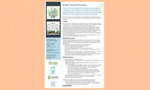 Journée de présentation du Règlement sanitaire européen le 13 décembre 2019