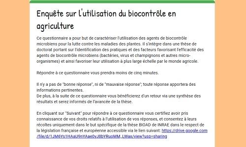 Lancement d'une thèse sur l'utilisation du biocontrôle en agriculture